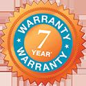 7-year warranty badge
